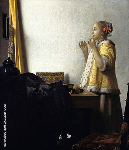 Girl with a Pearl Necklace c1664 By Johannes Vermeer