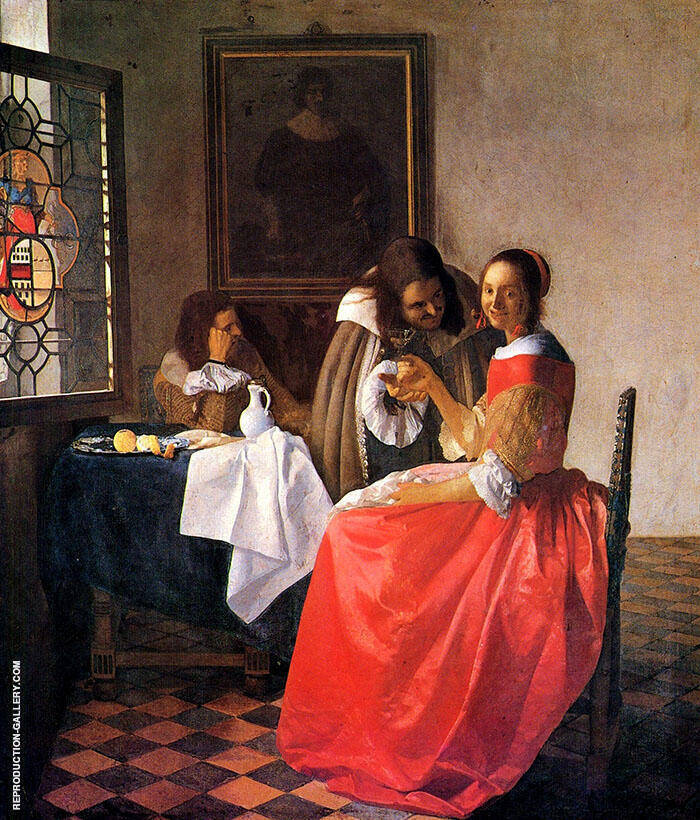 The Girl with Two Men c1659 by Johannes Vermeer | Oil Painting Reproduction Replica On Canvas - Reproduction Gallery