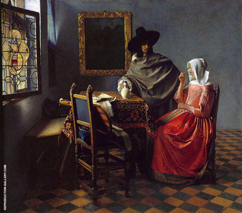 The Glass of Wine c1658 Painting By Johannes Vermeer