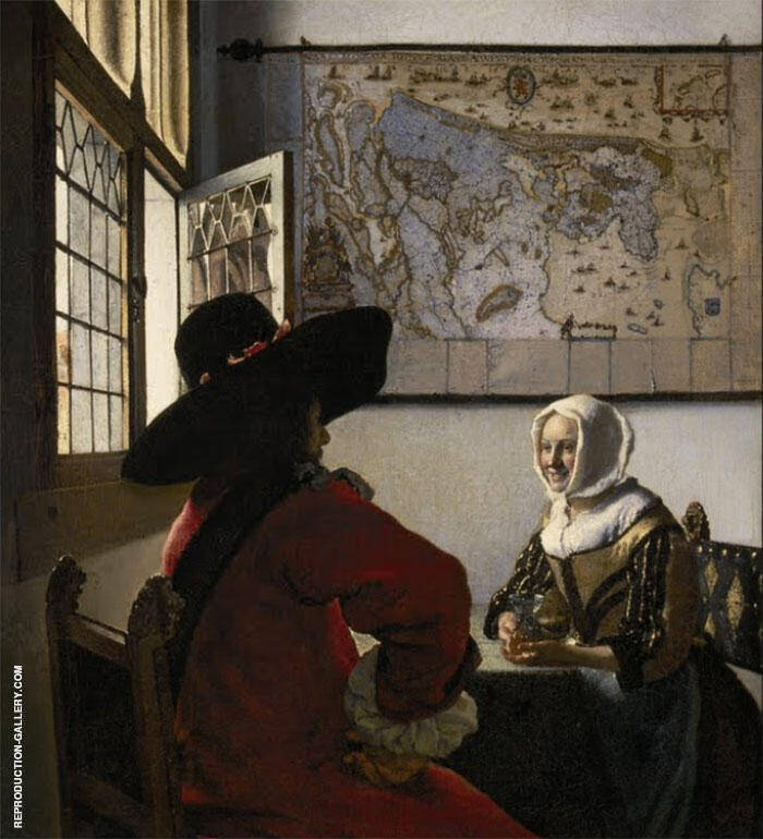Officer with a Laughing Girl 1658 By Johannes Vermeer