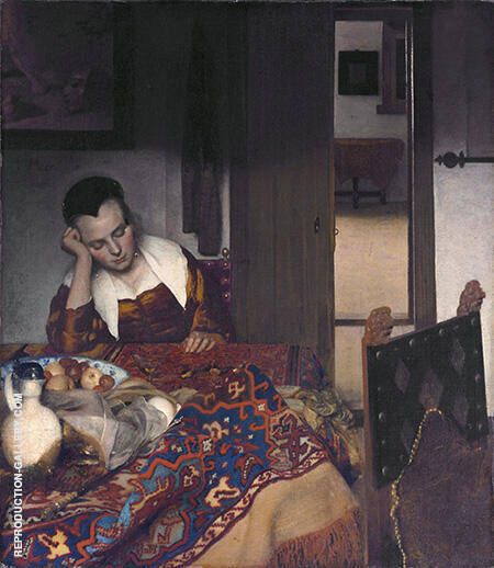 Girl A sleep at a Table 1657 Painting By Johannes Vermeer