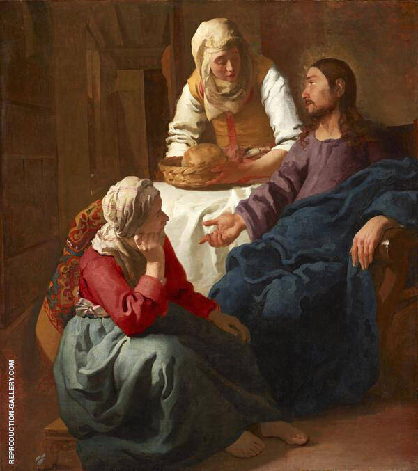 Christ in the House of Mary and Martha c1654 by Johannes Vermeer | Oil Painting Reproduction Replica On Canvas - Reproduction Gallery