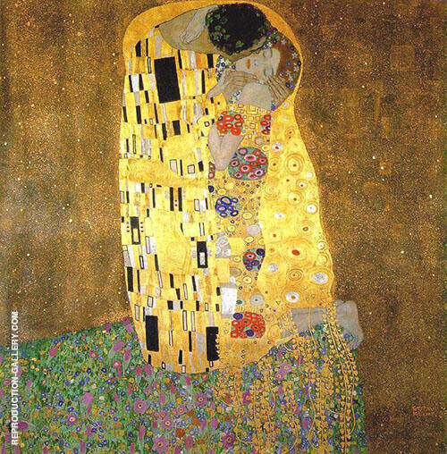 The Kiss 1907 square format By Gustav Klimt