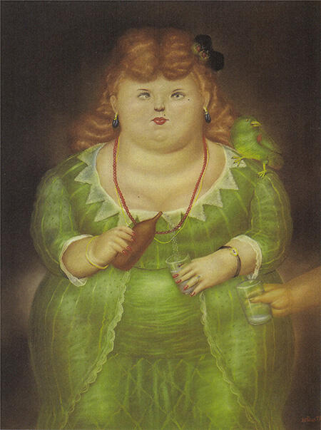 Woman with Parrot 1973 By Fernando Botero - Oil Paintings & Art Reproductions - Reproduction Gallery