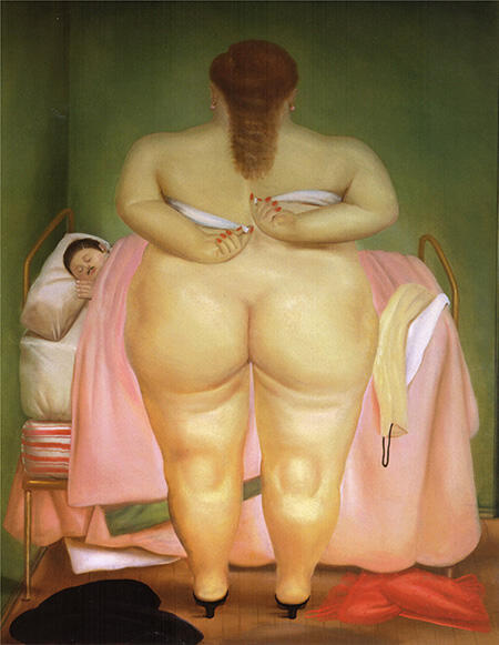 Woman Putting on her Brassiere 1976 By Fernando Botero - Oil Paintings & Art Reproductions - Reproduction Gallery