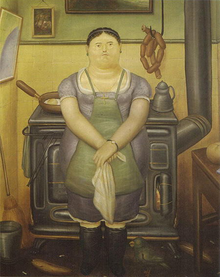 The Maid 1974 By Fernando Botero - Oil Paintings & Art Reproductions - Reproduction Gallery