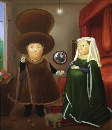The Arnolfini Marriage after van Eyck 1978 By Fernando Botero - Oil Paintings & Art Reproductions - Reproduction Gallery