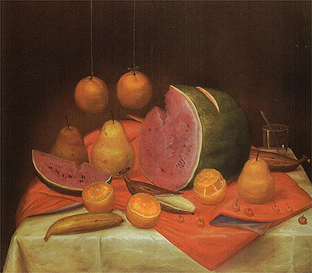Still Life with Watermelon 1974 By Fernando Botero - Oil Paintings & Art Reproductions - Reproduction Gallery