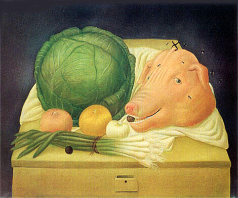 Still Life with Pigs Head 1968 By Fernando Botero - Oil Paintings & Art Reproductions - Reproduction Gallery