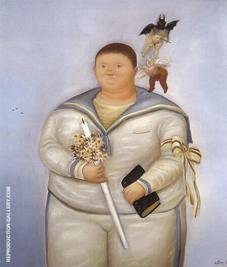 Self Portrait on the Day of First Communion 1970 By Fernando Botero - Oil Paintings & Art Reproductions - Reproduction Gallery