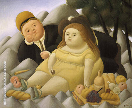 Picnic in The Mountains 1966 By Fernando Botero - Oil Paintings & Art Reproductions - Reproduction Gallery