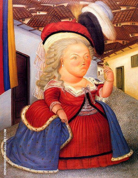 Marie Antoinette Visiting Medellin Colombia 1990 By Fernando Botero - Oil Paintings & Art Reproductions - Reproduction Gallery