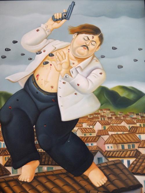 Death of Pablo Escobar 1999 Painting By Fernando Botero