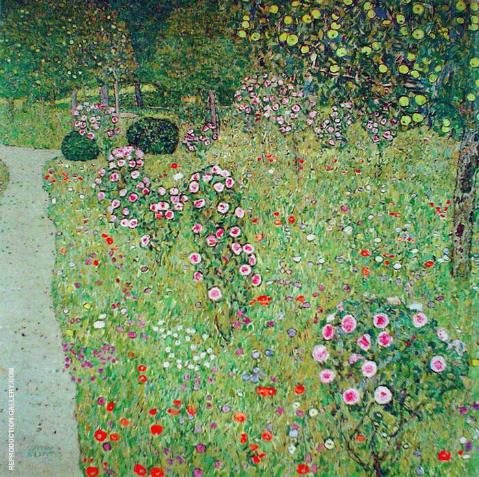 Orchard with Roses 1912 By Gustav Klimt