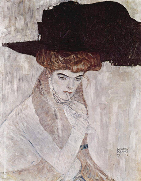 Lady with Hat and Feather Boa 1910 By Gustav Klimt