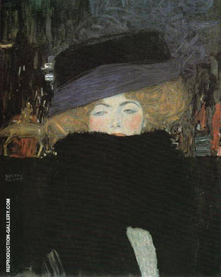 Lady with Hat and Feather Boa 1909 By Gustav Klimt