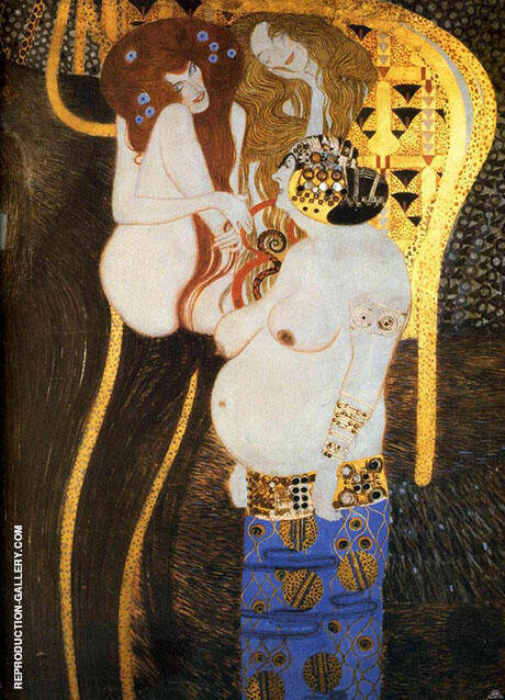 Beethoven Frieze The Hostile Powers  Far Wall Detail 1902 By Gustav Klimt