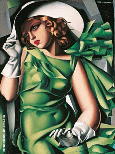 Girl in Green Dress 1930 By Tamara de Lempicka - Oil Paintings & Art Reproductions - Reproduction Gallery