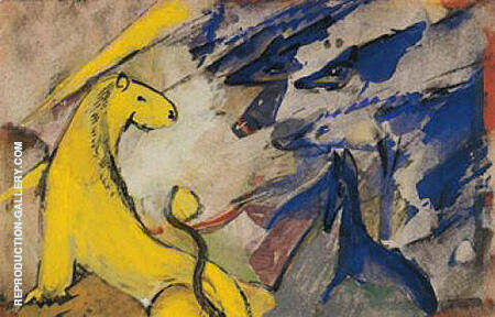 Yellow Lion Blue Foxes and Blue Horse 1914 Painting By Franz Marc