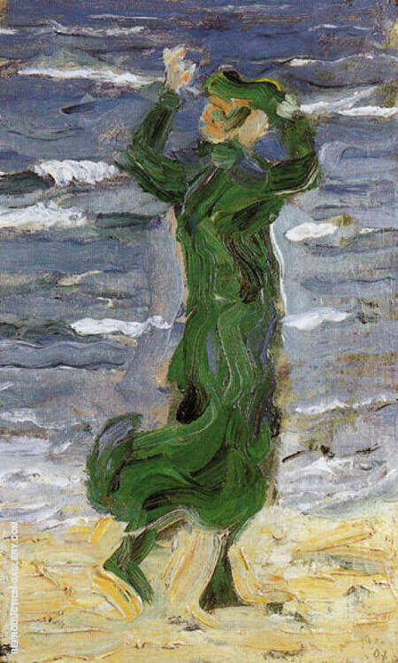 Woman in the Wind by the Sea 1907 By Franz Marc - Oil Paintings & Art Reproductions - Reproduction Gallery