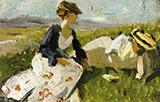 Two Women on the Hillside Sketch 1906 By Franz Marc