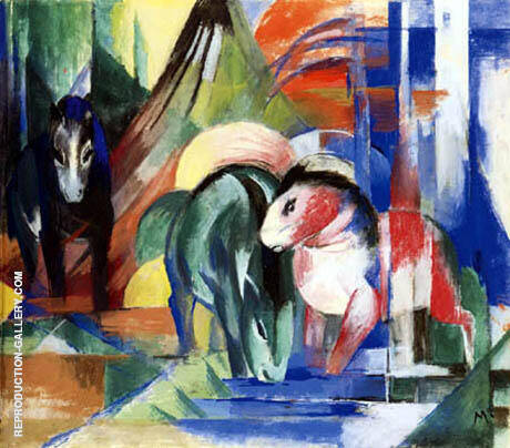 Three Horses at a Watering Place 1913 By Franz Marc
