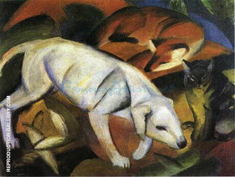 Three Animals Dog Fox and Cat 1912 By Franz Marc