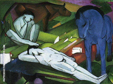 The Shepherds 1912 By Franz Marc - Oil Paintings & Art Reproductions - Reproduction Gallery