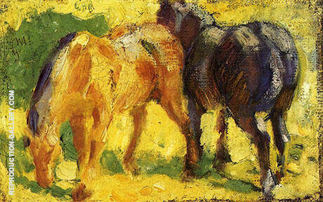 Small Horse Picture 1909 By Franz Marc - Oil Paintings & Art Reproductions - Reproduction Gallery
