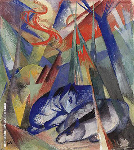 Sleeping Animals 1913 By Franz Marc - Oil Paintings & Art Reproductions - Reproduction Gallery