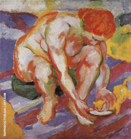 Nude with Cat 1910 By Franz Marc