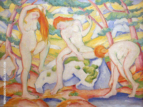 Reproduction of Bathing Girls 1910 by Franz Marc | Oil Painting Replica On CanvasReproduction Gallery
