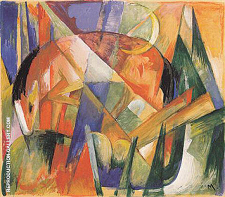 Mythical Beast II horse 1913 By Franz Marc