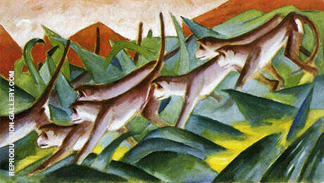 Monkey Frieze 1911 By Franz Marc - Oil Paintings & Art Reproductions - Reproduction Gallery