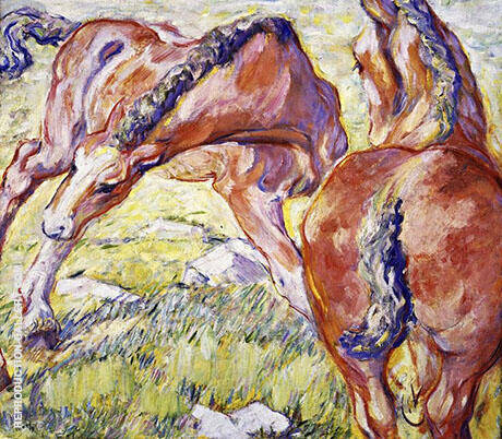 Mare with a Foal 1909 Painting By Franz Marc - Reproduction Gallery