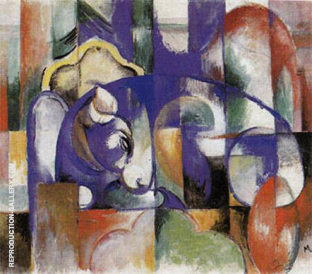 Lying Bull 1913 By Franz Marc - Oil Paintings & Art Reproductions - Reproduction Gallery