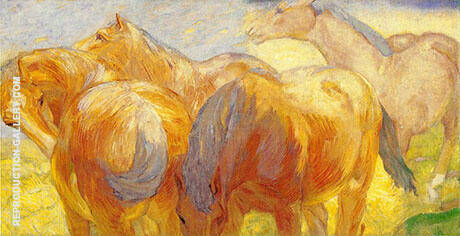 Large Lenggries Horses 1908 Painting By Franz Marc - Reproduction Gallery