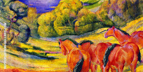 Large Landscape I 1909 By Franz Marc - Oil Paintings & Art Reproductions - Reproduction Gallery