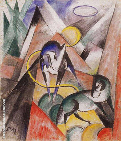Landscape with Two Horses 1913 By Franz Marc - Oil Paintings & Art Reproductions - Reproduction Gallery