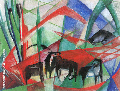 Landscape with Black Horses 1913 By Franz Marc - Oil Paintings & Art Reproductions - Reproduction Gallery