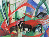 Landscape with Black Horses 1913 By Franz Marc