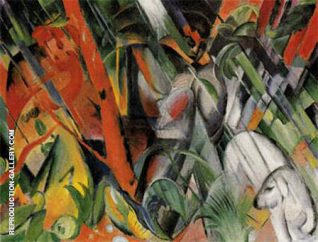 In the Rain 1912 By Franz Marc - Oil Paintings & Art Reproductions - Reproduction Gallery