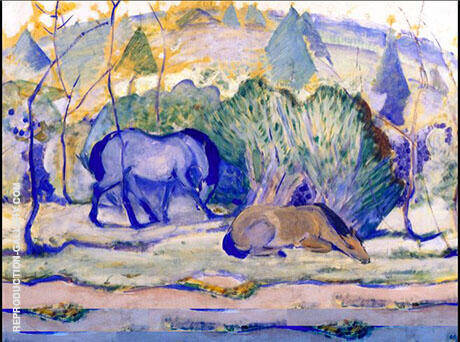 Horses at Pasture 1910 Painting By Franz Marc - Reproduction Gallery