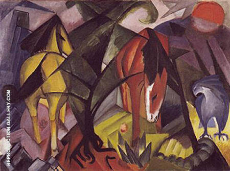 Horses and an Eagle 1912 By Franz Marc - Oil Paintings & Art Reproductions - Reproduction Gallery
