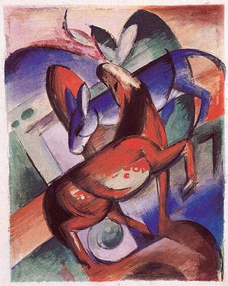 Horse Donkey 1912 Painting By Franz Marc - Reproduction Gallery