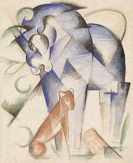 Horse Dog 1913 Painting By Franz Marc - Reproduction Gallery