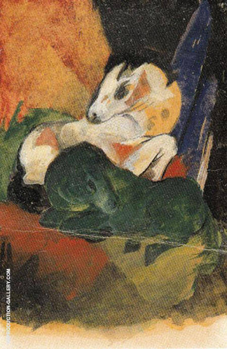 Reproduction of Green Horse and White Horse 1913 by Franz Marc | Oil Painting Replica On CanvasReproduction Gallery