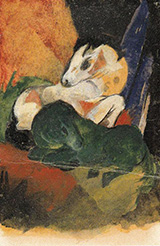 Green Horse and White Horse 1913 By Franz Marc