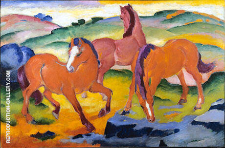 Grazing Horses Red Horses 1911 Painting By Franz Marc