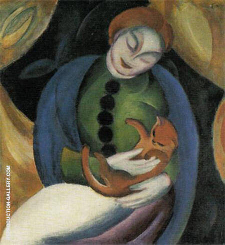 Girl with Cat II 1912 By Franz Marc - Oil Paintings & Art Reproductions - Reproduction Gallery